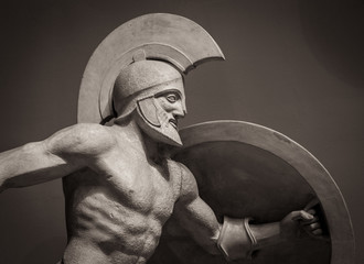 Head in helmet Greek ancient sculpture of warrior