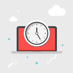 Flat design business concept Digital marketing business man time for website and promotion banners and computer, Vector illustrator