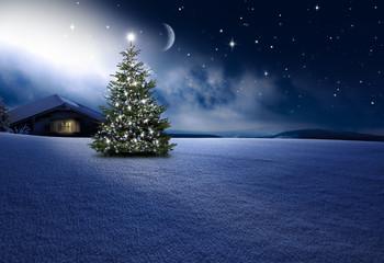 Wall Mural - Weihnachtshütte mit Christbaum