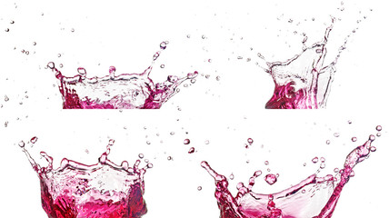 Wall Mural - collection of pink liquid splash on white background