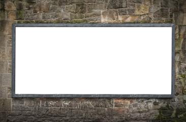 Blank Billboard on Stone Wall