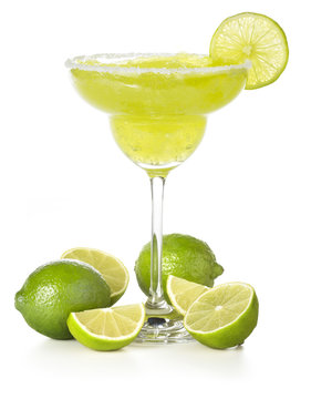 classic margarita cocktail and lime isolated on white