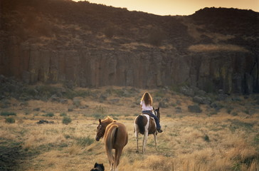 Woman riding horse, Odessa, Eastern Washington state, United States of America, North America