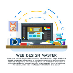 Flat designed banner for ui design; web design and web development. Workspace designer. Monitor with a graphical editor. Paints; brush; pen tablet and the camera on the table. Vector illustration.