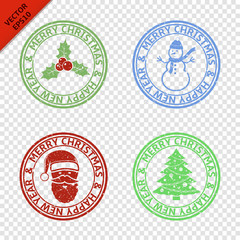 Merry Christmas stamps with art Christmas elements isolated on transparent background