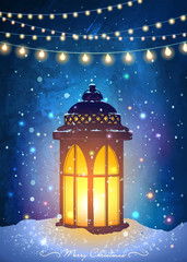Christmas greeting card with vintage lantern on snow with magical lights at snowfall night sky background. Unusual vector illustration