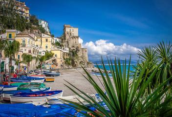 Wall Mural - Sandy beach cove with colorful boats on Amalfi Coast, Cetara