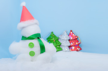 Snowman white christmas day blue background