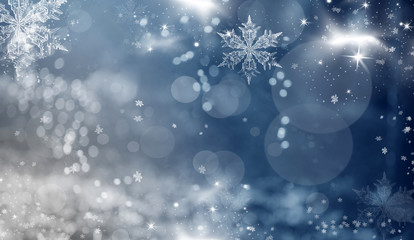 Blue holiday abstract background with stars and snowflakes