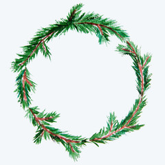New year and Christmas wreath - fir tree on white isolated backg
