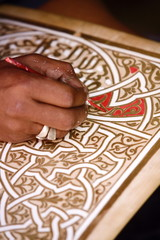 Calligrapher at the Medina (old Town), Marrakesh, Morocco, North Africa, Africa