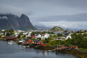 View over Reine, Lofoten Islands, Arctic, Norway, Scandinavia, Europe
