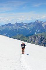 Ascent to marmolada, dolomites, Italy.