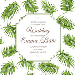 Wedding event celebration invitation RSVP card. Tropical exotic palm tree greenery branch leaves background. Border frame template with text placeholder. Vector design illustration.