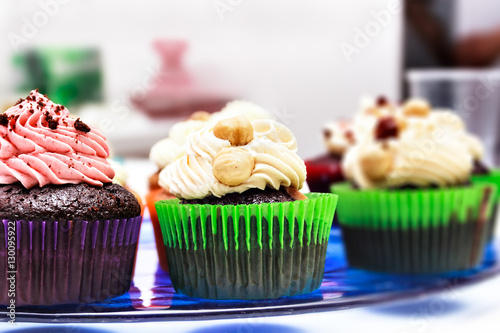 Cupcakes On A Blue Stand Stock Photo And Royalty Free Images On