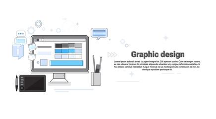 Graphic Design Creative Designer Work Equipment Concept Banner Thin Line Vector Illustration