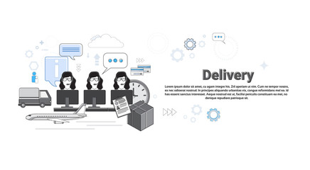 Delivery Service Center Logistic Shipping Web Banner Vector Illustration