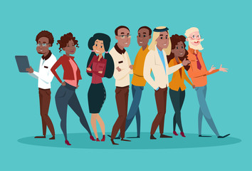Ethnic Business People Group Meeting Mix Race Team Businesspeople Flat Vector Illustration