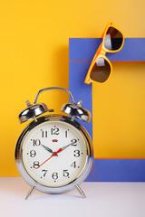 Vintage set - Alarm clock, sunglasses and frame