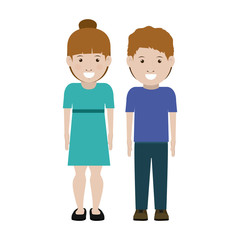 Girl and boy cartoon icon. Couple relationship and love theme. Isolated design. Vector illustration