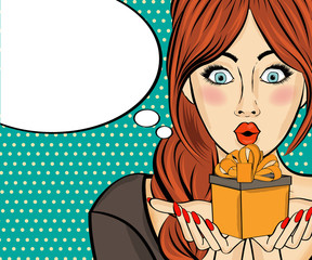 Surprised pop art woman that holds a gift in their hands . Comic