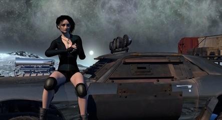 Survivor Girl Sitting On Desert Hot Rod 3D Render