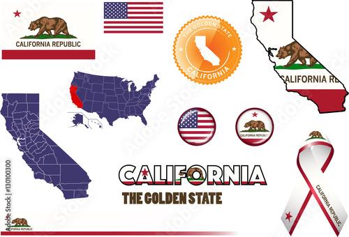 California Icons Set Of Vector Graphic Images Representing Symbols