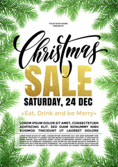 Sale poster gold glitter text placard Christmas promo offer
