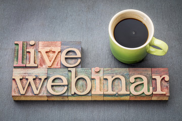 live webinar word abstract  in wood type
