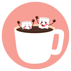 Cute marshmallow friends having fun bathing on cocoa cup