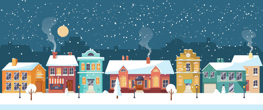 Snowy Christmas night in the cozy town, panorama