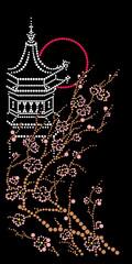 Pagoda with an Oriental cherry