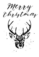 Merry Christmas and Seasons Greetings card with brush calligraphy and handdrawn dear. Vector.