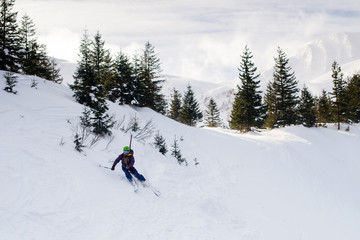 Skier riding on fresh snow in the Carpathian mountains, Ukraine