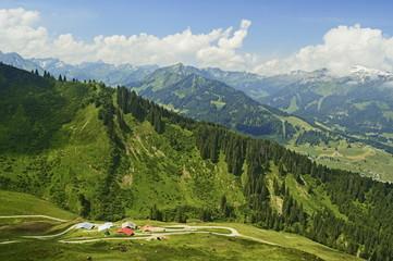 Aerial view of the Kleines Walsertal, Austria, Europe