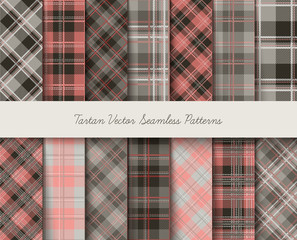 Tartan seamless vector patterns in gray-pink colors