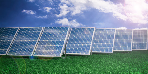 Solar panels on blue sky background. 3d illustration