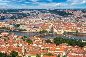Panoramic aerial view of Prague
