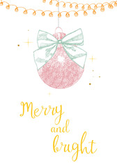 Christmas and New Year holidays hand lettering decoration text greeting card design template in color. Christmas typography label. Calligraphic inscription for winter holidays Vector.