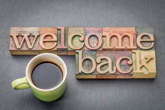 Welcome back sign in wood type