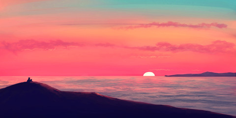 Lions watching sunset on the ocean / illustration painting