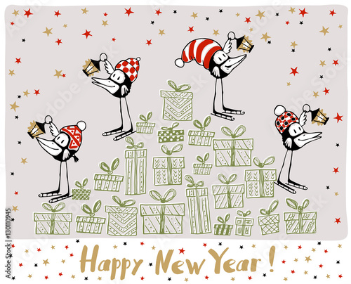 Happy new year greeting card greeting card with funny black birds happy new year greeting card greeting card with funny black birds and lanterns vector m4hsunfo