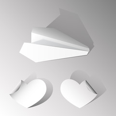 Paper airplane and two hearts. Vector illustration