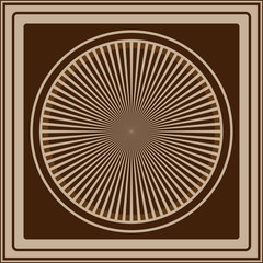 Abstract vector logo. Wheel. Beautiful brown background with circle
