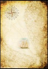 Seekarte der Wesermündung mit Kompassrose und Segelschiff