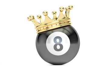 Billiard black eight ball with golden crown, 3D rendering