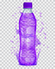 Transparent water splashes in purple colors around a transparent