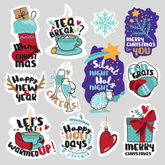Winter social media stickers set. Isolated seasons vector illustrations for social media communication, networking, website badges, greeting cards.