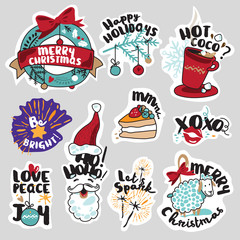 Christmas and New Year social media stickers set. Isolated vector illustrations for social media communication, networking, website badges, greeting cards.