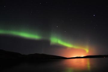 Northern Lights and stars on Shetland Islands